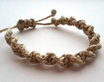 Adjustable Hemp Bracelet- Spiral Knot