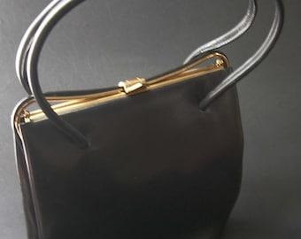 1950s Black Leather Small Handbag - Jane Shilton - Vintage Handbags