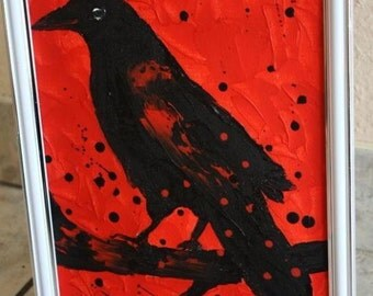 Crow Painting, Framed, Original oil painting , Decor home