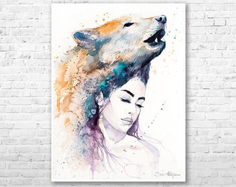 Wolf Girl watercolor painting print by Slaveika Aladjova, Fashion Illustration, Woman art, Illustration, watercolour, wall art, home decor