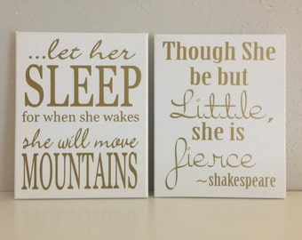 Let her sleep for when she wakes, Though she be but little she is fierce, custom colors, little girl room, baby girl wall art, nursery decor