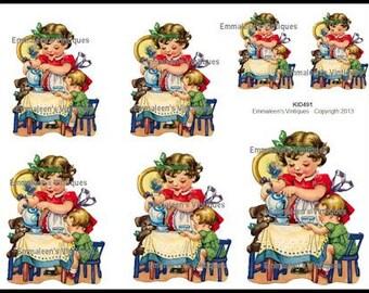Vintage Little Girl Tea Party Waterslide Decals~ KID491