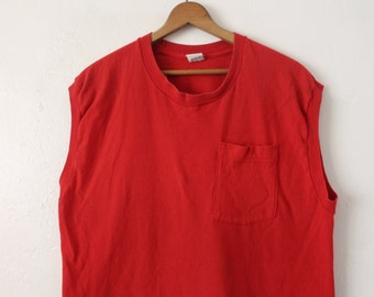 XLARGE 1980s Fruit Of The Loom Made in USA Sleeveless Tank Top with Pocket
