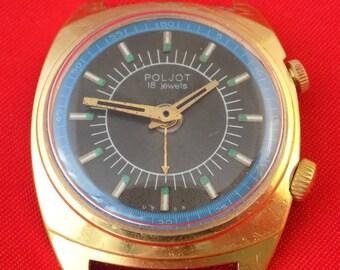 Gold plated AU vintage USSR mechanical watch Poljot Signal alarm model k360