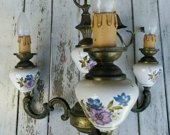 Porcelain 3 Arm Pendant Light Fitting french vintage brass Chandelier Dogwood