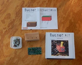 Handmade Wooden Bugbot Robot Craft Kit-Perfect Birthday or Holiday Gift for Children 6+!