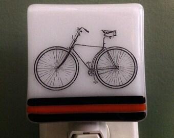 Bike, Art, Fused Glass, Biker, Wall, Bicycle, Cycle, Cycler, Night Light, Nightlight, Nite Light, Nite Lite, Cyclist
