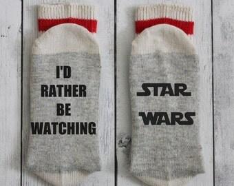 Star Wars, socks, Jedi, I'd rather be watching, R2D2, stormtrooper, Darth Vadorwool socks, men's socks, women's socks, the force awakens,
