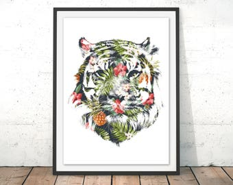 Tiger Print Tiger Wall Art Tiger Illustration Tiger Watercolour Gift Home Decor Tiger Rainforest Home Decor Gift by Robert Farkas