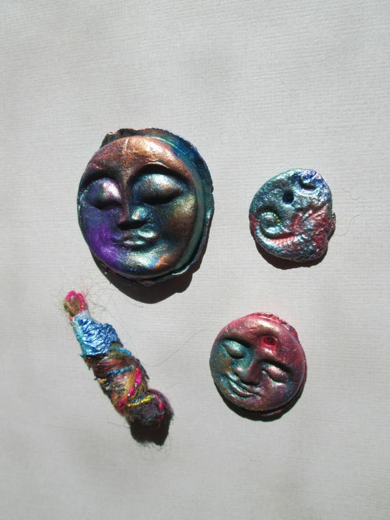 Basket Weaving Supplies Charleston Sc : Face cabochons set of four handmade supply colorful clay