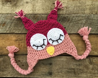 Sleepy Owl Hat With Earflaps, Owl Earflap Hat, Kids Winter Hat, Baby Sleepy Owl Hat, Owl Costume - ANY COLOR