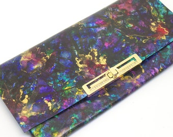 Luxury Purple Clutch Bag, Designer Handmade Leather Evening Purse. 'Fantasy'