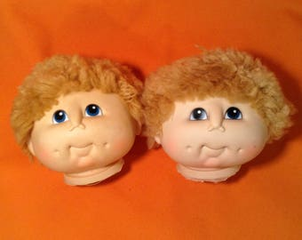 Pair of Cabbage Patch Kid Doll Heads - 2 Boys with Light Brown Hair - 1980s Fibre Craft