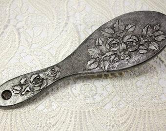 Wooden hairbrush old silver wooden hair brush vintage hairbrush hair brush retro hairbrush wood gift for her rose