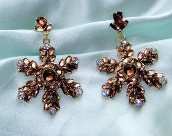 Statement earrings in copper star with Rhinestone