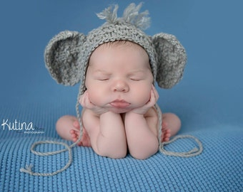 Newborn knit elephant bonnet
