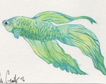 Watercolor Beta Fish PRINT