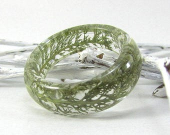 real plant ring, green resin ring real plant inside, pressed plant resin jewelry, botanical ring, nature ring, resin ring, dried plant rings