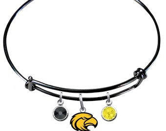 Southern Miss Golden Eagles COLOR EDITION Wire Charm Expandable Bangle Bracelet w/ Black & Gold Crystal Charms - Pick Your Color