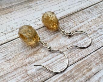 Sterling Silver Wide Hook Earrings With Golden Rutilated Quartz Teardrops