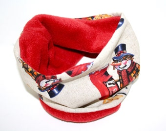 Dogs loop tube scarf snowmen red beige