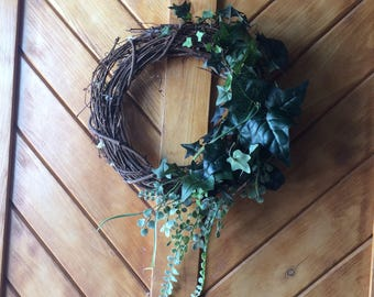 Grapevine spring summer wreath , greenery only wreath , 12 inch wreath, door wreath , door hanger. All occasions wreath