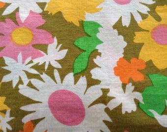 """Vintage cotton floral sheet, bright orange, yellow green, yellow, ,  olive green background, approx 80"""" x 114"""""""