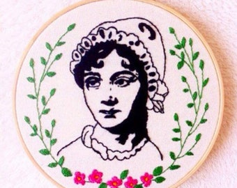Embroidery design/Jane Austen embroidery hoop art/writer embroidery/handmade stitching