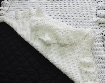 Hand Knitted Wool Shawl/Blanket (28x26 inches)