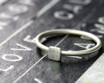 Silver ring square 4mm x 4mm, stacking ring, silver jewelry, fashion ring, geometric