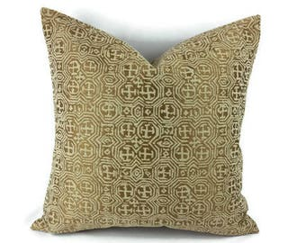 Golden Green with Sage Abstract Design Pillow Cover