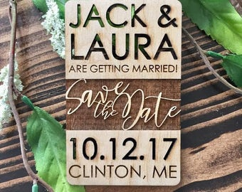 Modern Wood Save The Date Magnets