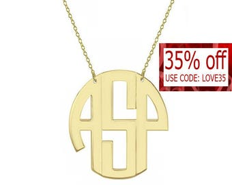 "Monogram necklace - personalize gold block monogram necklace 1"" gold plated 18k on .925 silver"