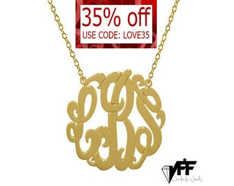 Gold Monogram Necklace - 0.8 inch Personalized Monogram - Name Necklace Sterling silver 18k gold plated