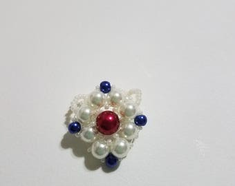 Rhombus Red, Navy Blue, and Ivory Pearl Ring Stretchy Band