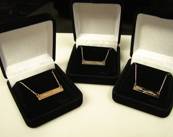 SOLID GOLD 14k Yellow, 14k White, or 14k Rose bar. Any font, symbol, handwriting can be engraved. Free Shipping