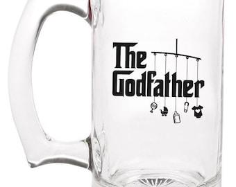godfather glass beer mug   |   double-sided logo   |   12 ounce   |   diswasher safe