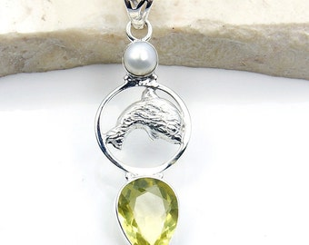 Citrine Pendant, Pearl , Dolphin Pendant, 925 Sterling Silver Pendant , V626 November Birthstone