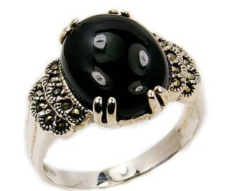New Moon Black Onyx Ring, Marcasite & 925 Sterling Silver Ring, Size 5 1/2 , 7 1/2 ; Q154 , Q183 Jewelry