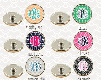 Snap Jewels!!! 24 Designs-Interchangeable Snaps-Monogrammed Snap (Ginger Snap Inspired) - Snap Jewelry - Monogrammed Snaps  - Made in USA