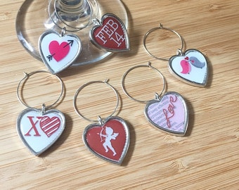 Heart Charm // Valentine's Day Wine Charms // Set of 6