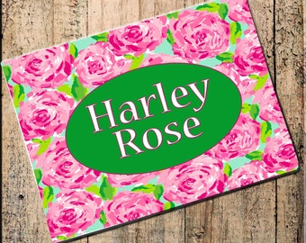 "Pink Roses, Personalized Placemat Custom 16"" x 10"" Fabric Top, black rubber backing, stops sliding, heat resistant, absorbs moisture"