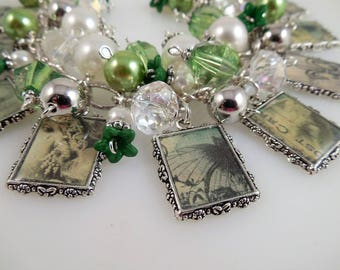 Vintage in Green Picture Charm Bracelet Cha Cha Bracelet Altered Art Bracelet