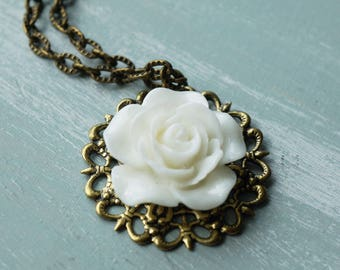 Necklace, white rose filigree brass vintage style necklace