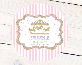 Carousel Personalized Stickers, Birthday Carnival Personalized Labels - First Birthday Favor Labels