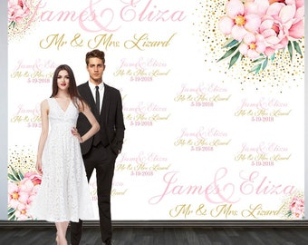 Wedding Photo Backdrop, Custom Wedding Backdrop, Personalized Step and Repeat Backdrop, Floral and Gold Confetti Photo Booth Backdrop