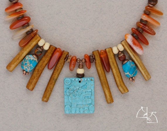 """CHRISTMAS SALE 25% off """"Dream of the Shaman"""". Bright necklace with natural stones carnelian, variscite, coral, turquoise  in ethno style."""