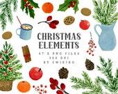 Christmas Watercolor Elements, Digital Clip art, holly clipart, Holiday, Xmas, Christmas tree