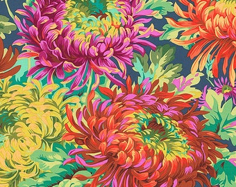 Chrysanthemums: Blue Asian Japanese Fabric (1/2 Yd Increments)