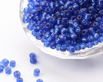 6/0 Clear Navy Blue Silver Lined Seed Beads